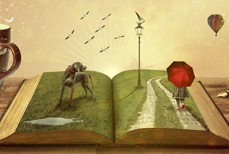 Kunst. Teikning som viser ei open bok med illustrasjoner av kva for tankereise ein kan legge ut på via bøker, ei litterær reise. (Kunstner, førebels ukjent)